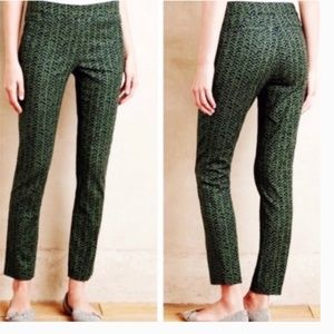 Anthro Cartonnier Green Print Cropped Pants Size 6